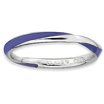 Argento lucidata placcato in rodio Twisted viola smaltato 2.5 x 2,25 mm impilabile anello - anello taglia: 5-10