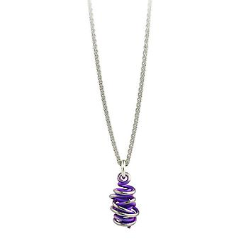 Ti2 Titanium Chaos Drop Pendant and Silver Necklace - Imperial Purple