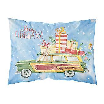 メリー クリスマス黄色いラブラドル ・ レトリーバー犬ファブリックの標準的な枕