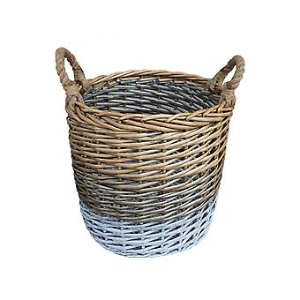 Small Round Triple Tone Chunky Wicker Storage Basket