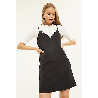 English Factory T Shirt With Scallop Dress Overlay