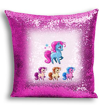 i-Tronixs - Unicorn Printed Design Pink Sequin Cushion / Pillow Cover for Home Decor - 11