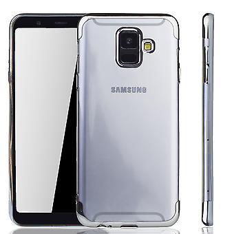 Handyhülle für Samsung Galaxy A6 2018 Silber - Clear - TPU Silikon Case Backcover Schutzhülle in Transparent / glänzender Rand Silber