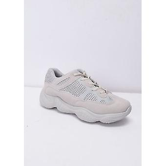 Faux Suede Panel Chunky Trainers naakt Beige