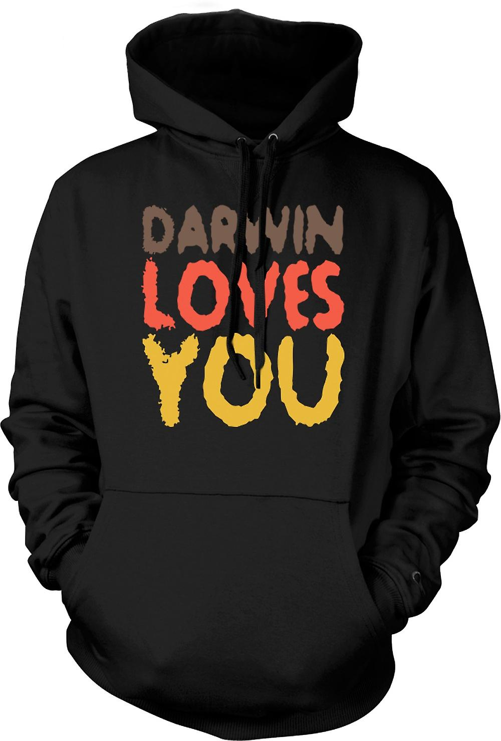 Mens Hoodie - Darwin Loves You - Quote