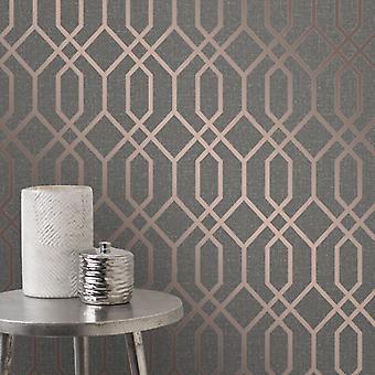 Fd42307 Elegant Textured Quartz Trellis Silver Copper Glitter Wallpaper 10.05x0.52M