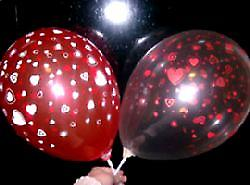 Balloons Hearts Red And Cream Crystal 12""
