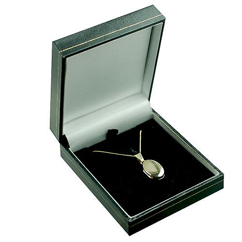 9ct Gold 18x11mm plain oval Locket with a curb Chain 16 inches Only Suitable for Children