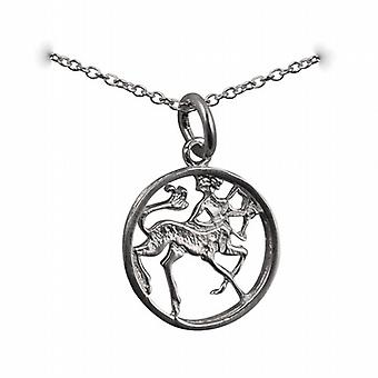 Silver 11mm pierced Sagittarius Zodiac Pendant with a rolo Chain 14 inches Only Suitable for Children