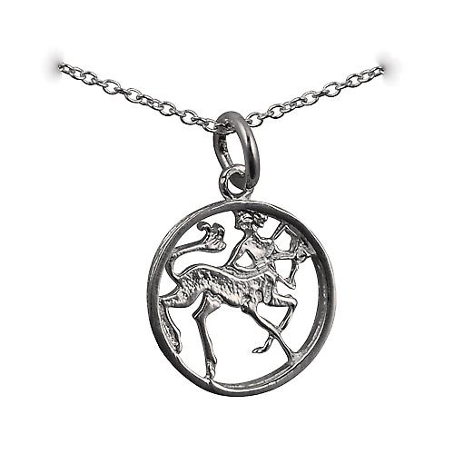 Silver 11mm pierced Sagittarius Zodiac Pendant with rolo chain