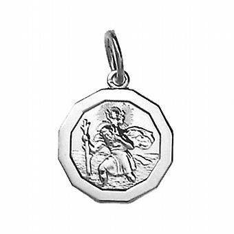 Silver 13x13mm dodecagonal St Christopher Pendant