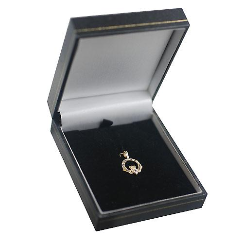 9ct Gold 20x15mm diamond cut Claddagh set with CZ Pendant