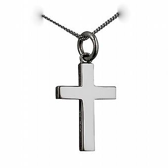 9ct White Gold 20x13mm plain solid block Cross with a curb Chain 16 inches Only Suitable for Children