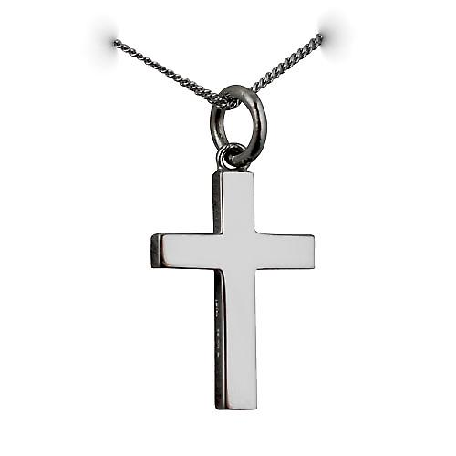 9ct White Gold 20x12mm plain solid block Cross with a curb Chain 16 inches Only Suitable for Children