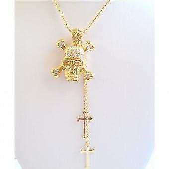 Bling Gold Skull Pendant Necklace Cross Dangling Gold Chain Necklace