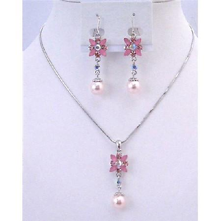 Cheap Bridemaids Jewelry Set Pink Pearl Rhinestone Wedding Necklace Set Flower Necklace Set w/ Pearl Dangling Set Under $15 Jewelry