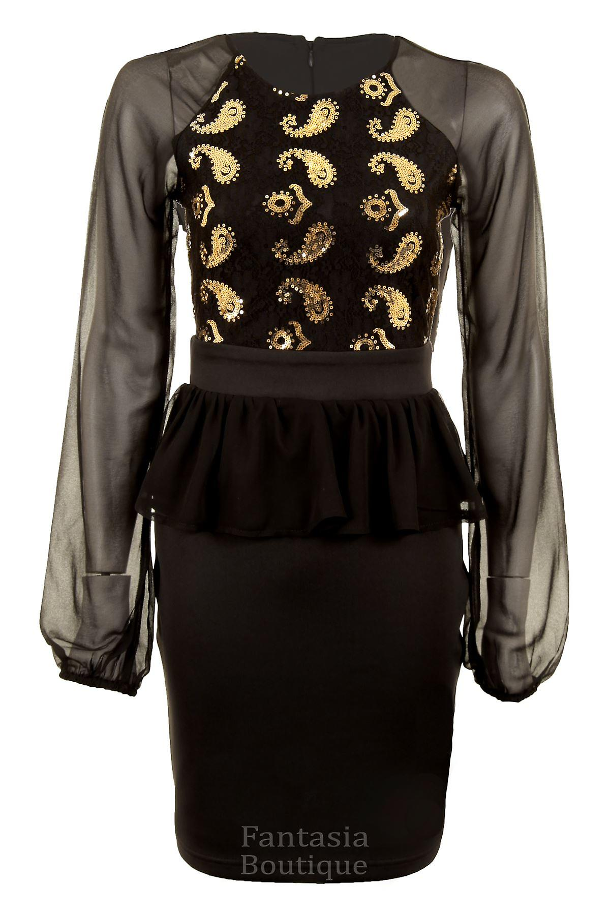 Ladies Long Sleeved Lace Mesh Sequin Paisley Chiffon Frill Women's Bodycon Dress