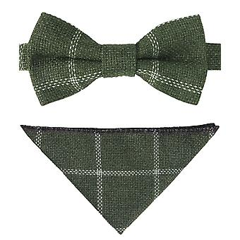 Boys Check Tweed Bow Tie and Pocket Square in Sage Green