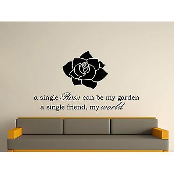 A Single Rose Wall Art Sticker - Black
