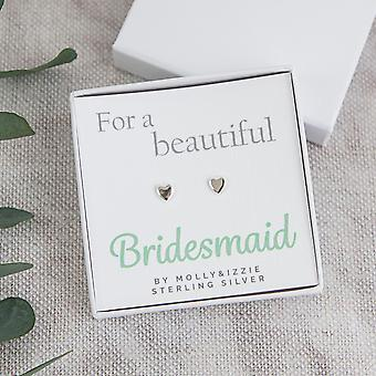 For A Beautiful Bridesmaid Heart Sterling Silver Earrings