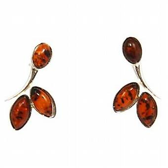 The Olivia Collection Sterling Silver Leafy Amber Earrings