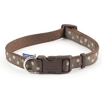 アンチョール調節可能なモカ ヴィンテージ水玉模様の犬の首輪 - 20-30 cm