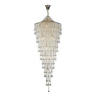 Diyas Inina Tall Pendant 15 Light E14 French Gold/Crystal