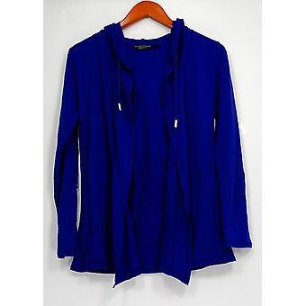 Susan Graver Women's Sweater XXS Hooded Cardigan Purple
