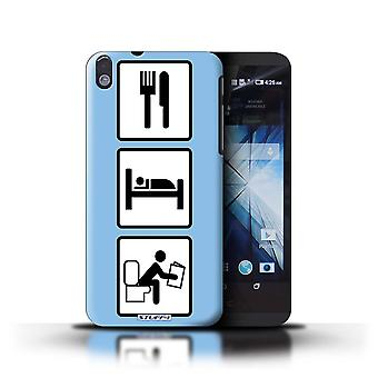 STUFF4 Case/Cover for HTC Desire 816G Dual/Poop/Blue/Eat/Sleep