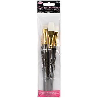 Donna Dewberry Glass Brush Set 4Pc Liner#2,Flat#12,Scruffy1 2