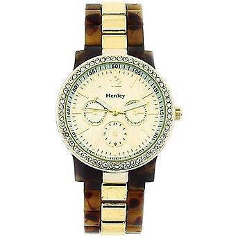 Henley Glamour Gold Chrono Effect Dial Tortoise Brac Strap Ladies Watch H0887.2G