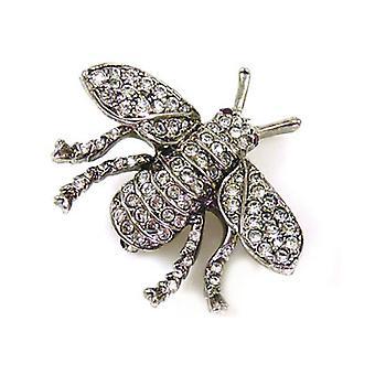 Kenneth Jay Lane piccolo antico in argento e cristallo ape spilla