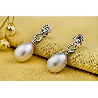 Affici 18ct White Gold Plated Sterling Silver Drop Earrings with White Freshwater Pearls