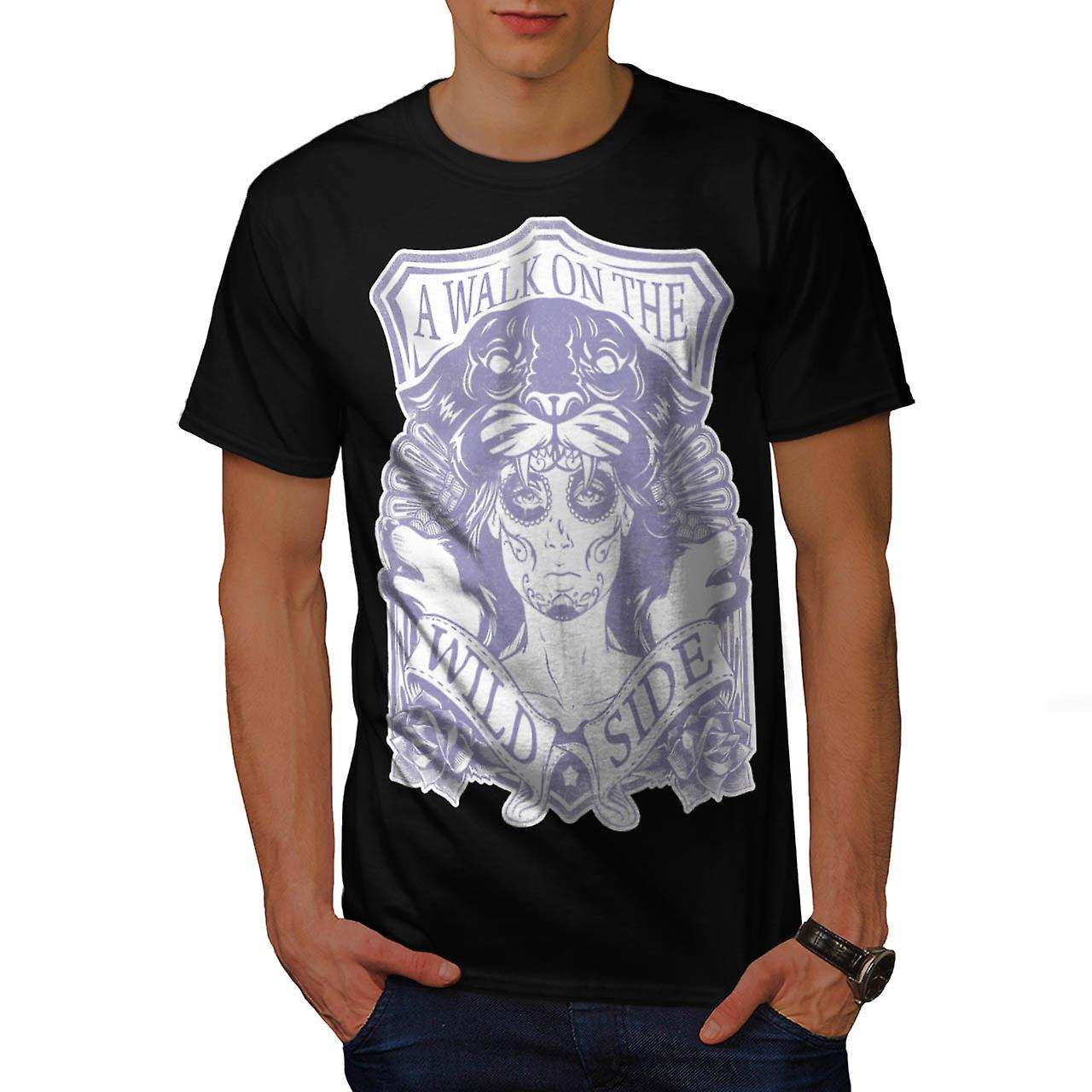 Walk On Wild Side Vintage Men Black T-shirt | Wellcoda