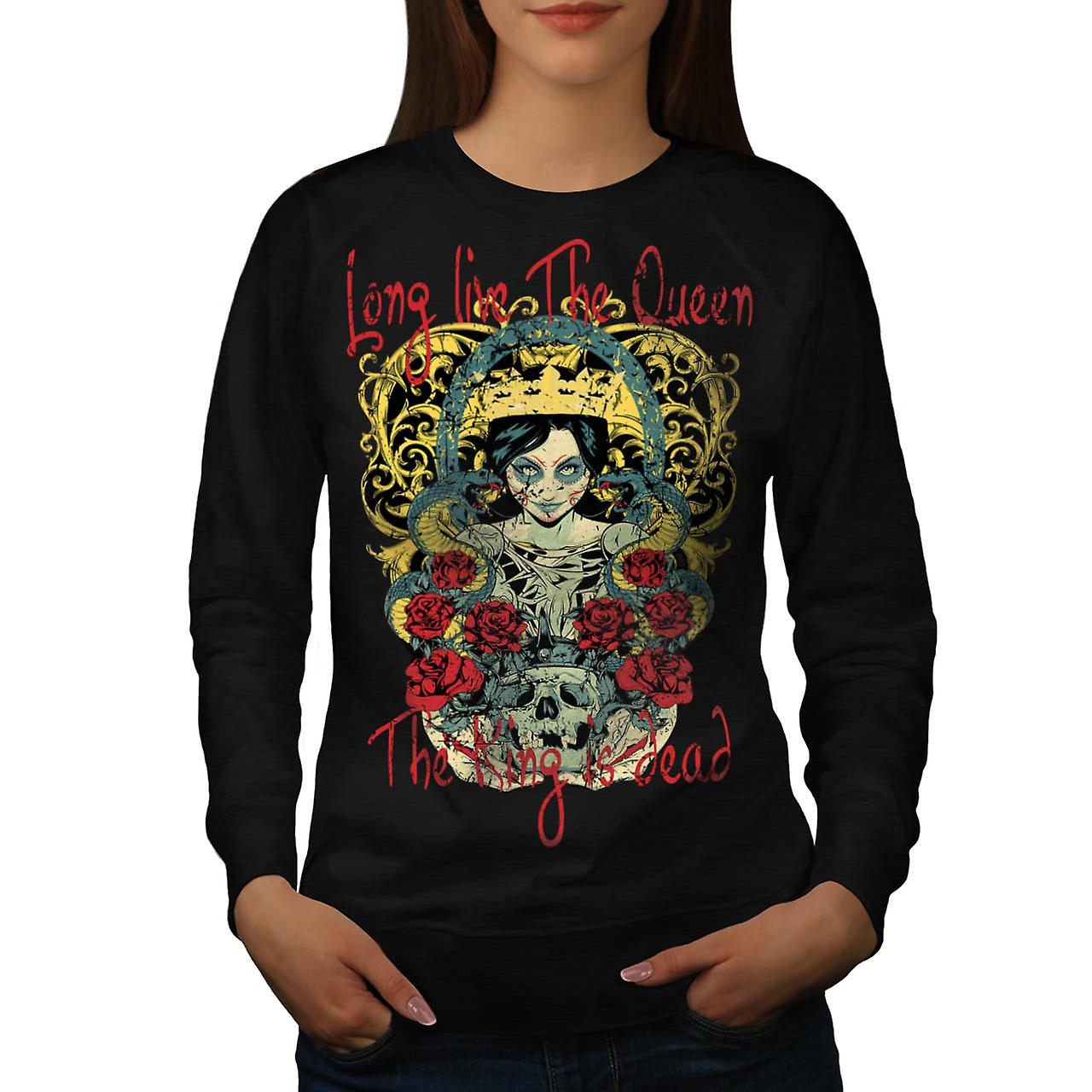 Live Queen King Dead Evil Dead Women Black Sweatshirt | Wellcoda