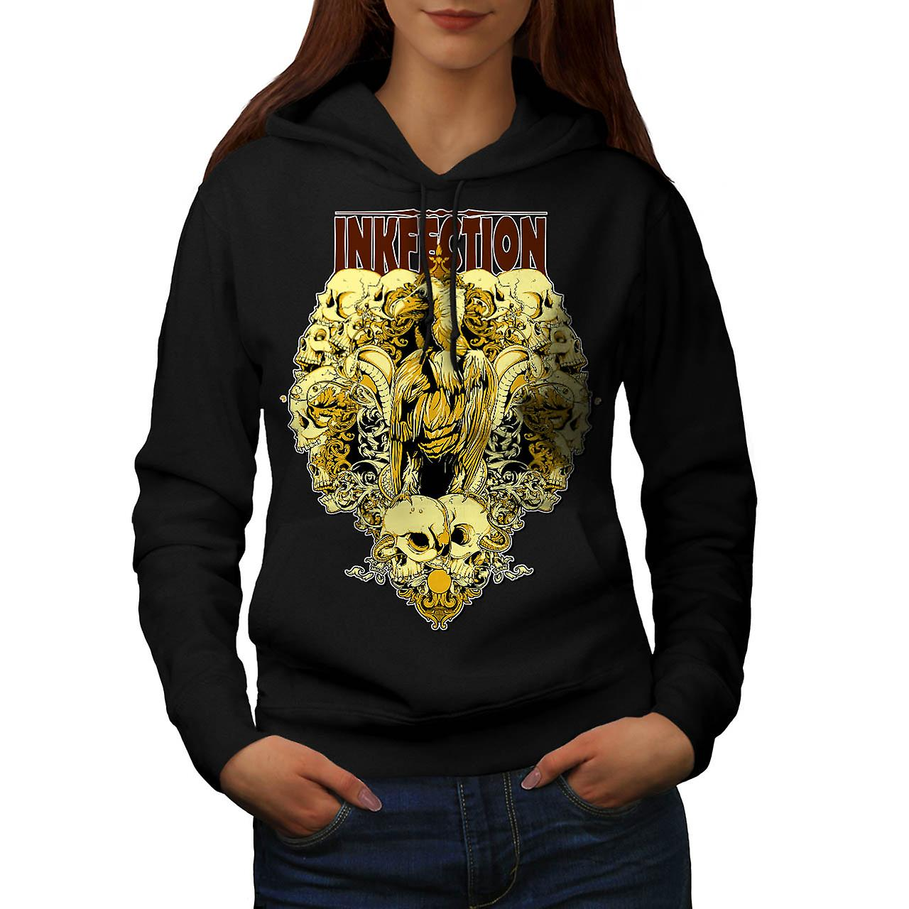 Ink Infection Eagle Skull Curse Women Black Hoodie | Wellcoda