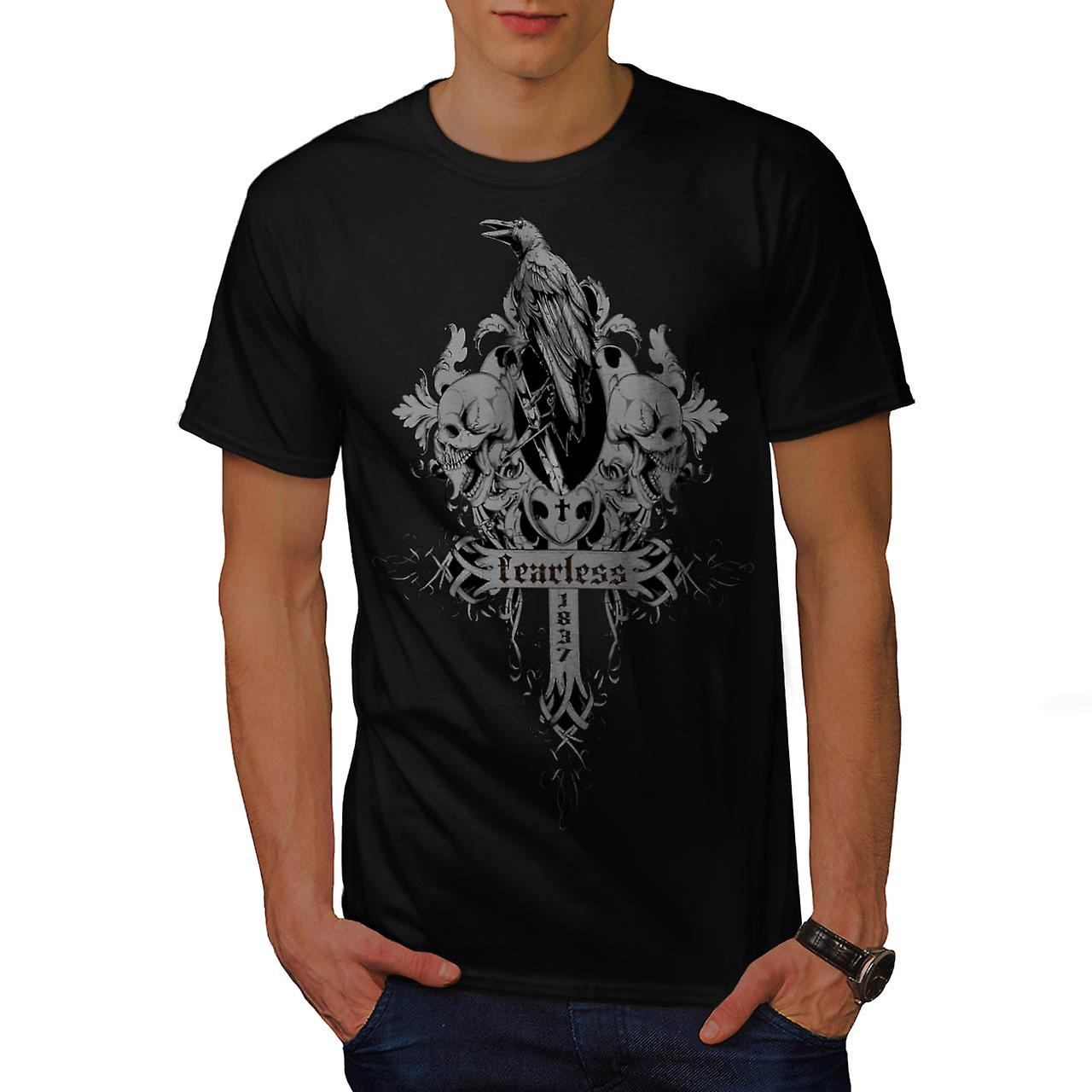 Fearless Death Crow Grave Yard Men Black T-shirt | Wellcoda