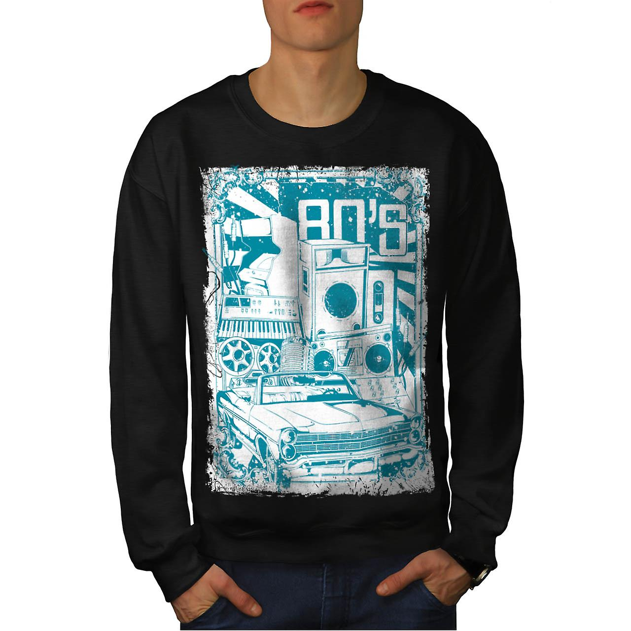 DJ 80's Theme Night Music Car Men Black Sweatshirt | Wellcoda