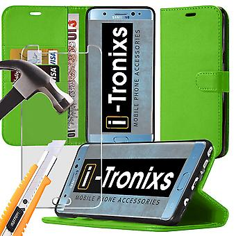 i-Tronixs Huawei Honor 8 PU Leather Wallet Flip Case + Glass Screen Protector -Green