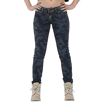 Slim Skinny Riss Distressed Camouflage-Denim-Jeans - blau