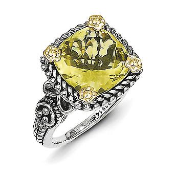 Sterling Silver With 14k 4.10Lemon Quartz Ring - Ring Size: 6 to 8