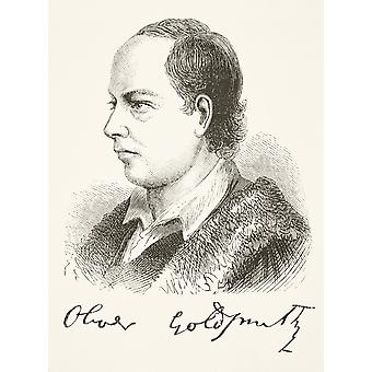 Oliver Goldsmith 1728 -1774 Anglo Irish Playwright Novelist Dramatist Poet And Essayist From The National And Domestic History Of England By William Aubrey Published London Circa 1890 PosterPrint