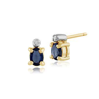 Saphir bleu léger de la ct de 0,46 or jaune 9ct Gemondo & Diamond Stud Earrings