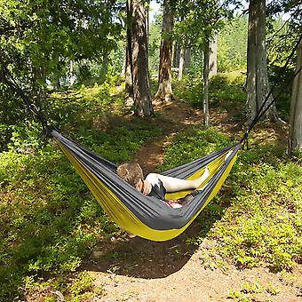 North East Harbor Portable 2 Person Hammock Rope Hanging Swing Fabric Camping Bed - Yellow & Grey