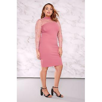 LIMITED COLLECTION Dusky Pink Turtle Neck Mini Dress With Lace Detail