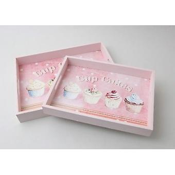 Set of 2 Cupcake Wood Serving Trays Pink