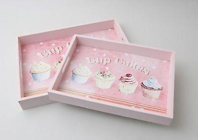 Set of 2 Cupcake Wood Serving Trays Pink