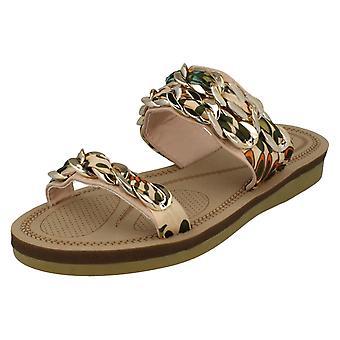 Damer Savannah flad dobbelt flettet rem sandaler F00062
