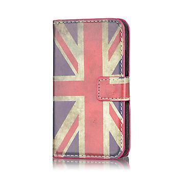 Design Buch PU Leder Case Cover für Samsung Galaxy S4 Mini i9190 - Union Jack UK Flagge