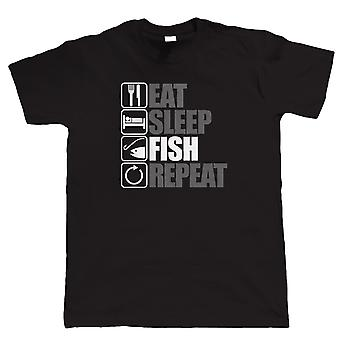 Vectorbomb, Eat Sleep Fish Repeat, Mens Fishing T Shirt (S to 5XL)